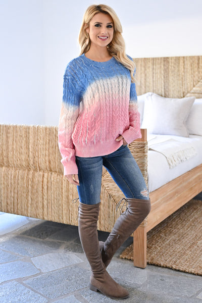 Cotton Candy Dreams Ombre Sweater womens trendy color block dip dye cable knit long sleeve sweater closet candy side