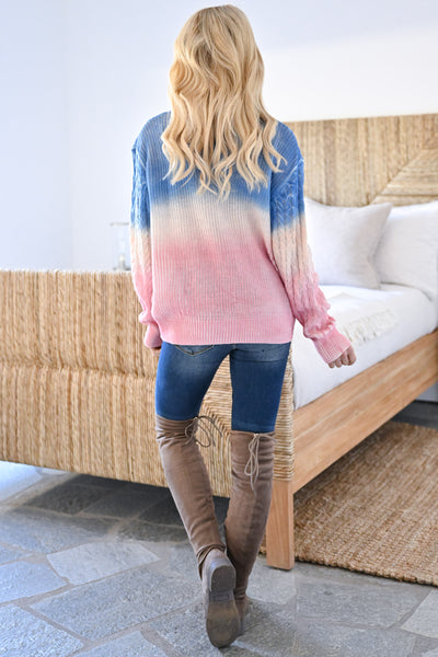 Cotton Candy Dreams Ombre Sweater womens trendy color block dip dye cable knit long sleeve sweater closet candy back