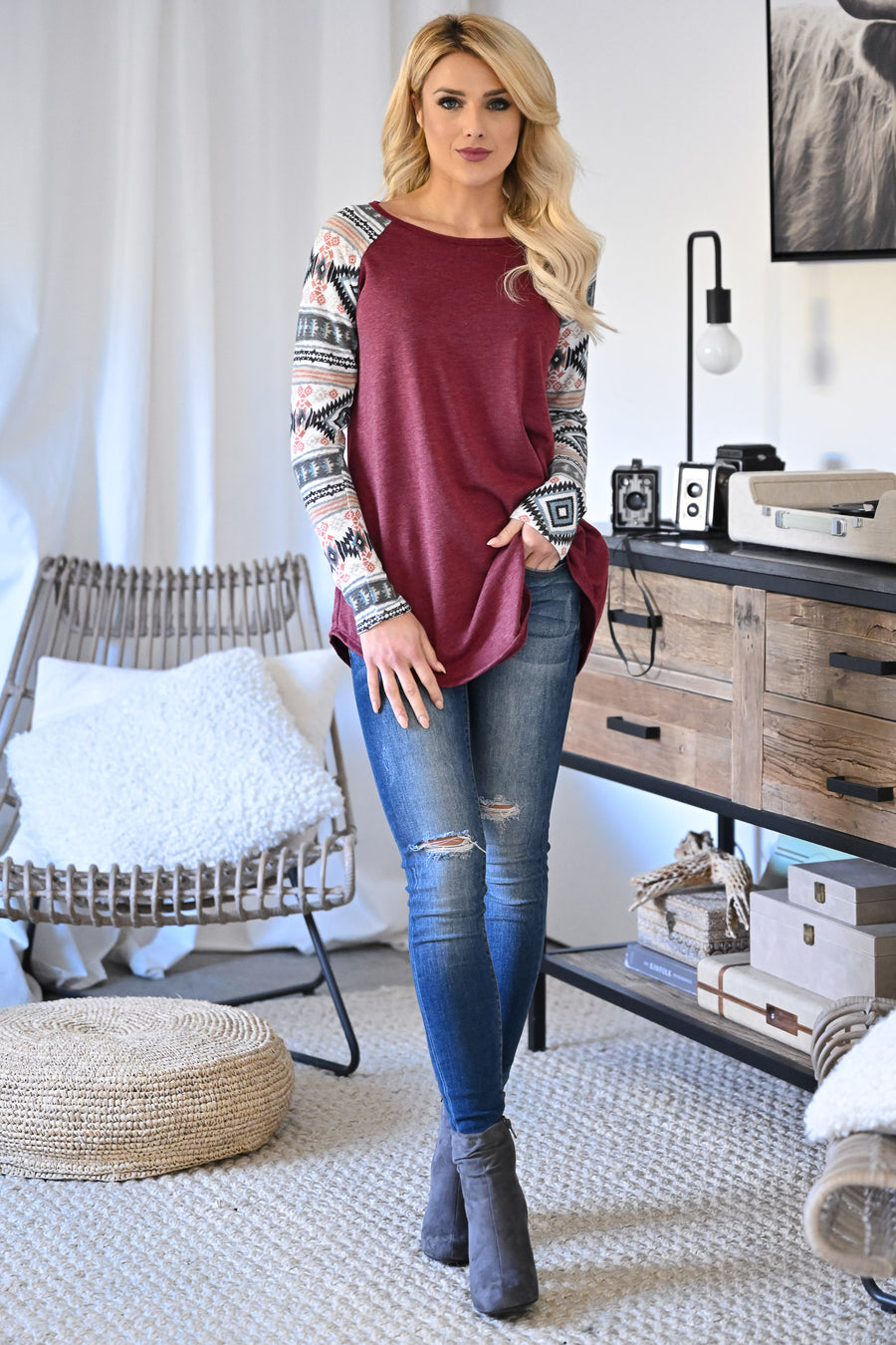 A Moment Like This Raglan Top - Wine women's trendy aztec print raglan long sleeve top closet candy front 1