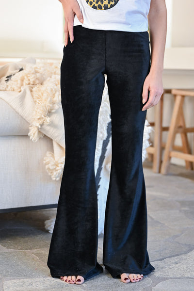 Walk Tall Corduroy Flare Pants - Black womens trendy long fit n flare corduroy ribbed pants closet candy front 1