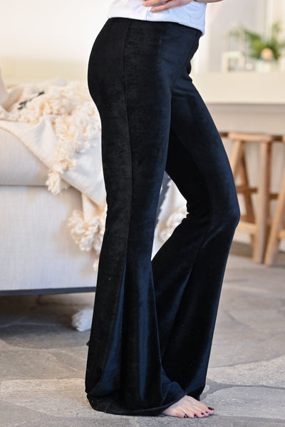Walk Tall Corduroy Flare Pants - Black womens trendy long fit n flare corduroy ribbed pants closet candy side