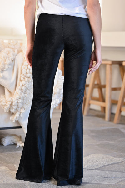 Walk Tall Corduroy Flare Pants - Black womens trendy long fit n flare corduroy ribbed pants closet candy back