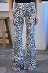 Feisty Flare Pants - Leopard womens trendy elastic waistband fit n flare pants leopard print closet candy front