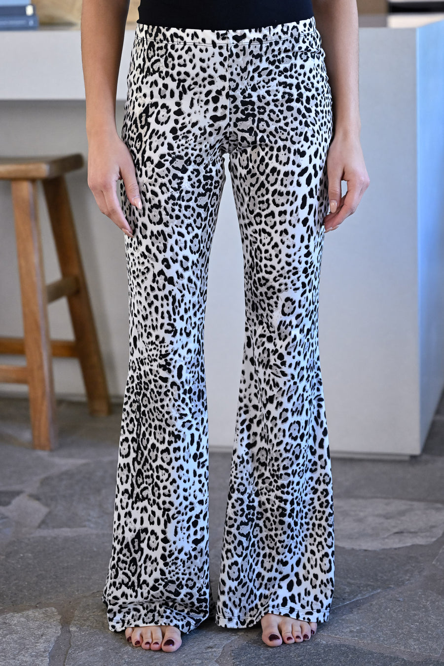 Feisty Flare Pants - Leopard womens trendy elastic waistband fit n flare pants leopard print closet candy side