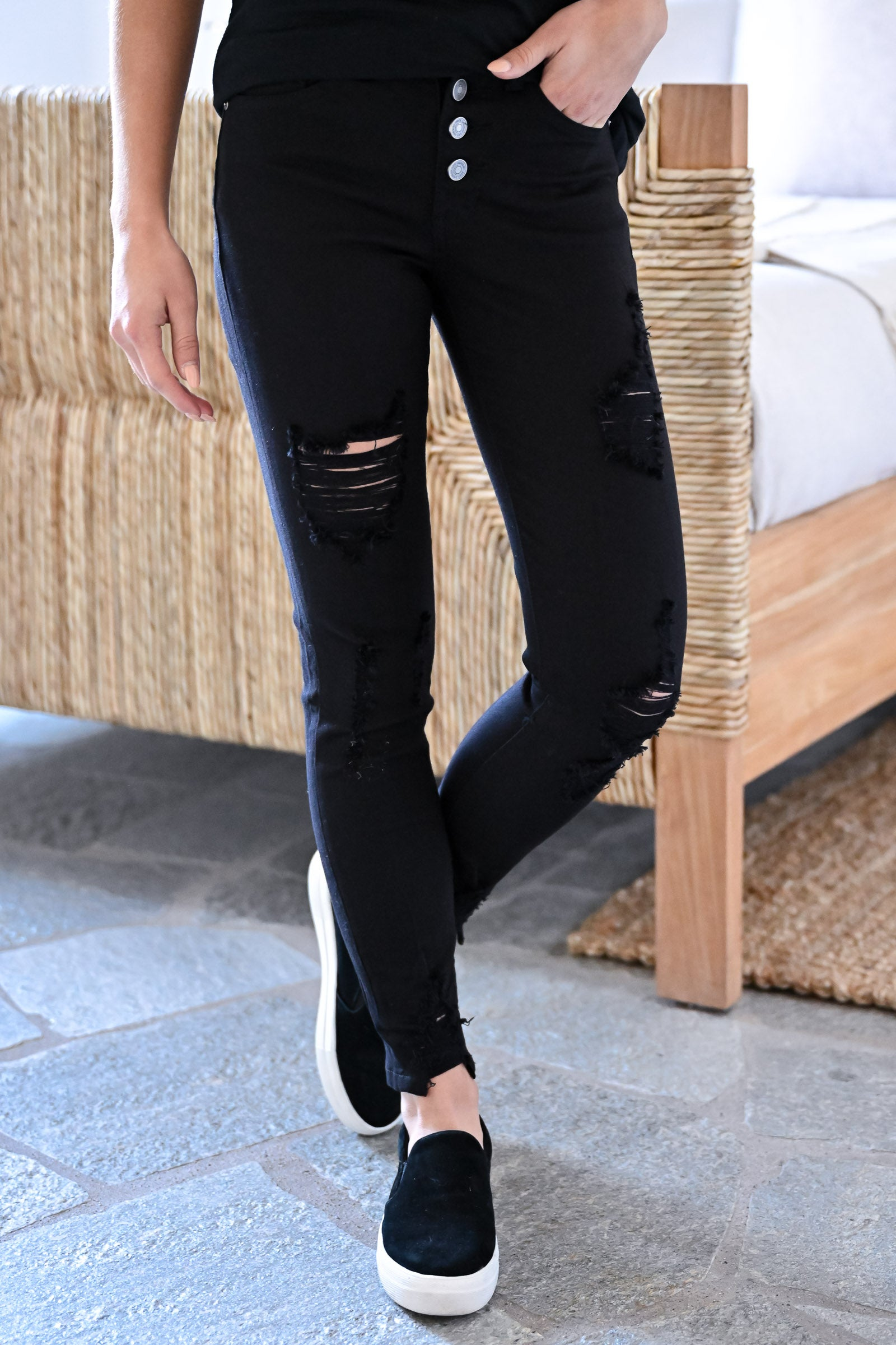 Kan Can Retro Exposed Button Jeans Black Closet Candy Boutique