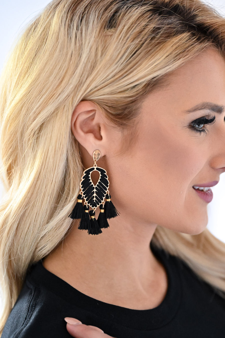 Bold Statement Earrings - Black womens leaf drop tassel detail earrings closet candy side