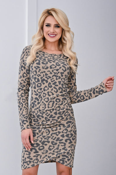 Oh Baby It's A Wild World Dress - Mocha womens long sleeve leopard print stretchy dress closet candy front