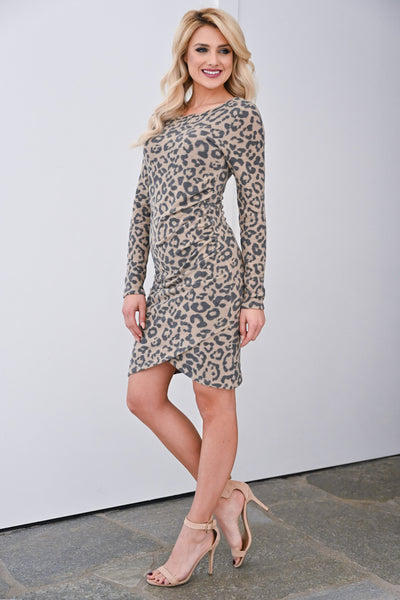 Oh Baby It's A Wild World Dress - Mocha womens long sleeve leopard print stretchy dress closet candy side
