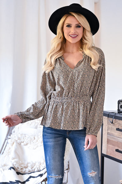 Making Bold Moves Leopard Blouse - Taupe womens trendy long sleeve ruffle trim leopard print top closet candy front 2
