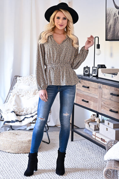 Making Bold Moves Leopard Blouse - Taupe womens trendy long sleeve ruffle trim leopard print top closet candy front