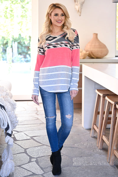 Make It Yours Long Sleeve Top - Neon Pink womens casual long sleeve aztec patterned color block top closet candy front