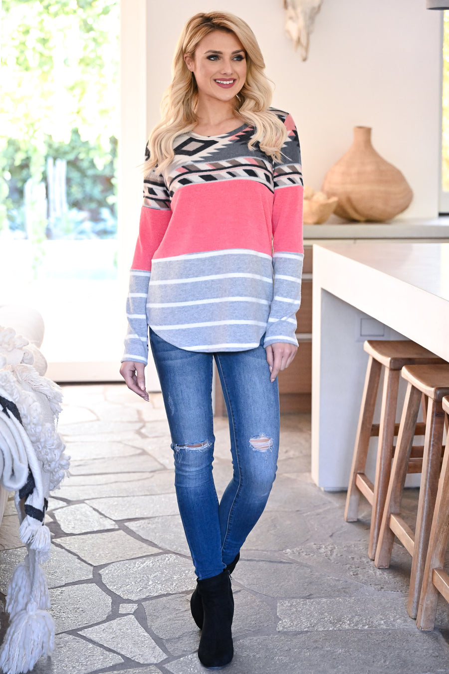Make It Yours Long Sleeve Top - Neon Pink womens casual long sleeve aztec patterned color block top closet candy close