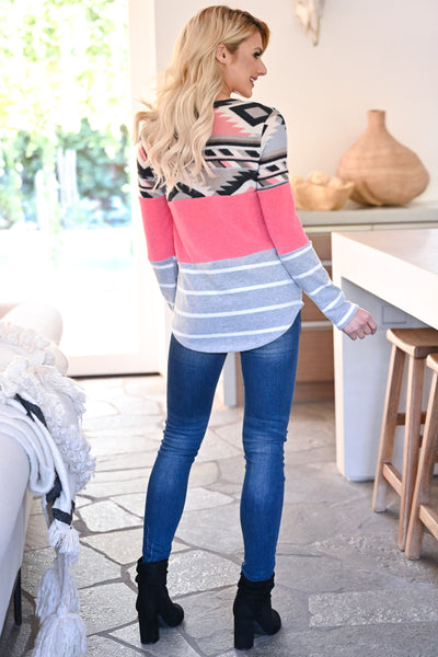 Make It Yours Long Sleeve Top - Neon Pink womens casual long sleeve aztec patterned color block top closet candy back