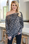 Be Seen Leopard Tunic - Taupe womens trendy off the shoulder dolman sleeve top closet candy front