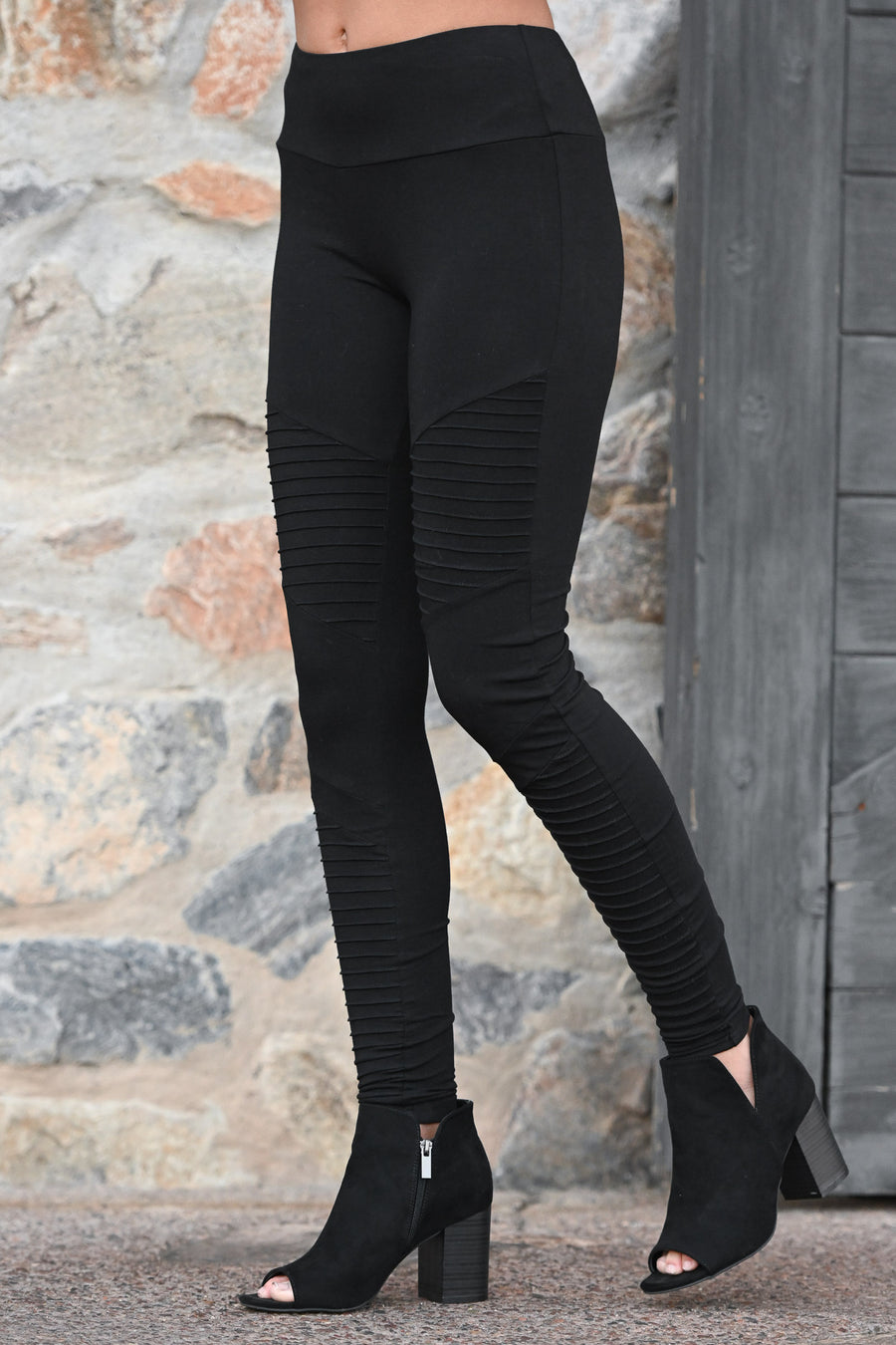 Living On The Edge Moto Leggings - Black women's athletic work out pants, Closet Candy Boutique 1