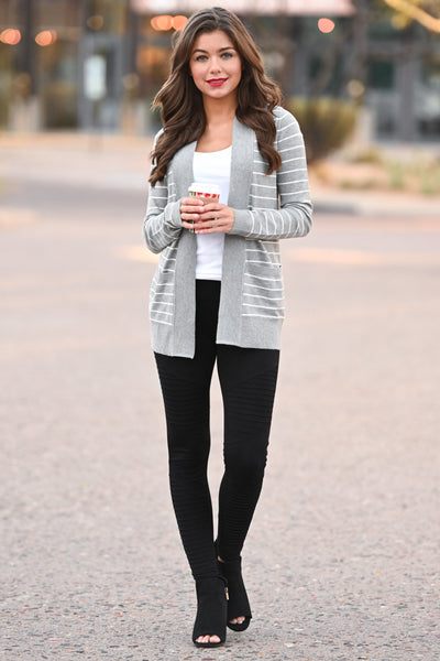 The Nearness of You Striped Cardigan - cute heather grey stripe print cardigan with pockets, Closet Candy Boutique 4