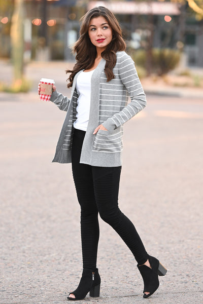 The Nearness of You Striped Cardigan - cute heather grey stripe print cardigan with pockets, Closet Candy Boutique 2