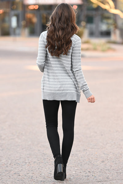 The Nearness of You Striped Cardigan - cute heather grey stripe print cardigan with pockets, Closet Candy Boutique 3