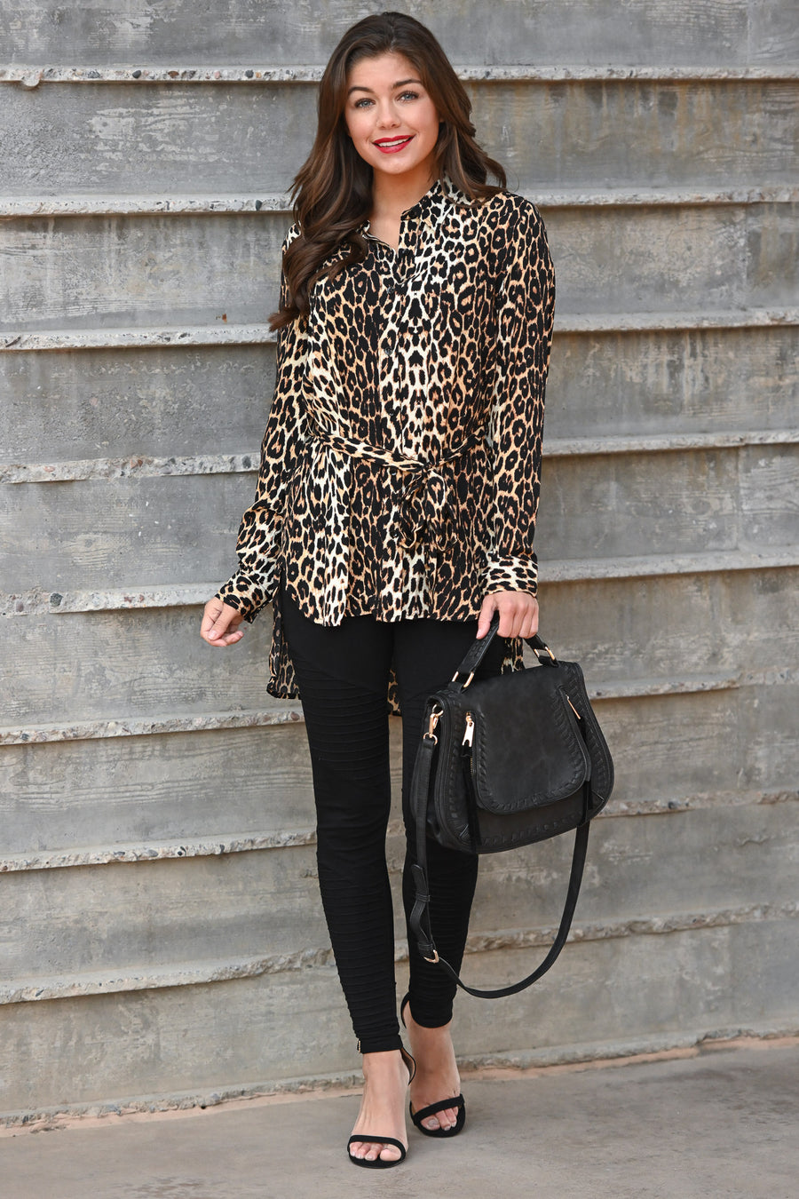 Can't Be Tamed Hi-Low Top - Leopard women's hi-low button-up top with waist tie, Closet Candy Boutique 1