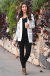 The Nearness of You Striped Cardigan - cute ivory stripe print cardigan with pockets, Closet Candy Boutique 4
