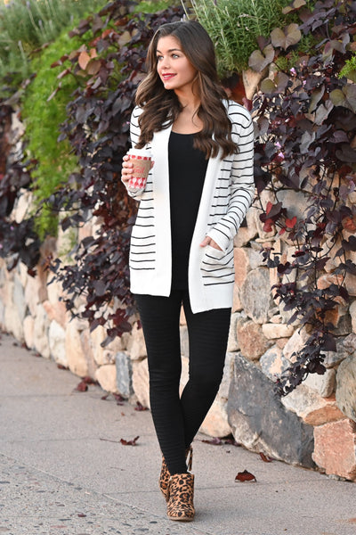 The Nearness of You Striped Cardigan - cute ivory stripe print cardigan with pockets, Closet Candy Boutique 2