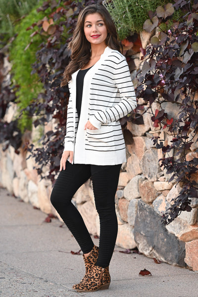 The Nearness of You Striped Cardigan - cute ivory stripe print cardigan with pockets, Closet Candy Boutique 3