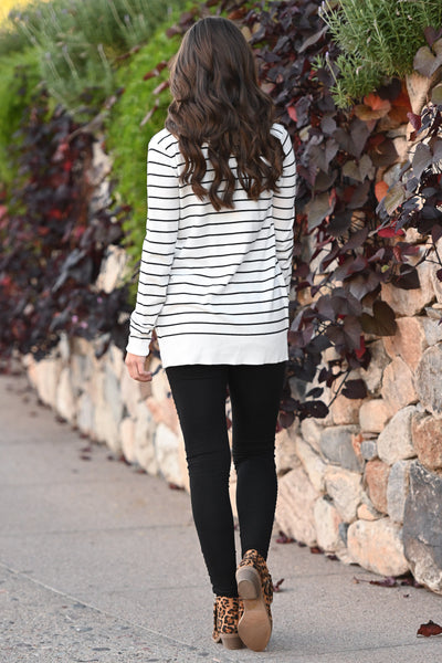 The Nearness of You Striped Cardigan - cute ivory stripe print cardigan with pockets, Closet Candy Boutique 5