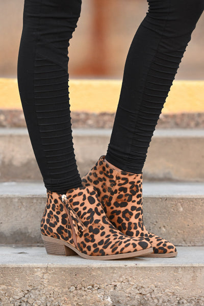 Lexi Leopard Booties women's animal print ankle boot with fringe detail, Closet Candy Boutique 4