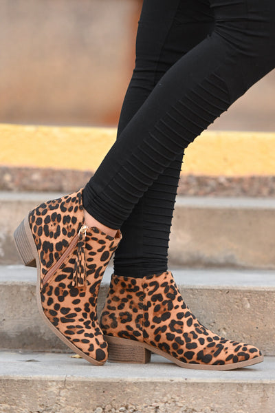 Lexi Leopard Booties women's animal print ankle boot with fringe detail, Closet Candy Boutique 2