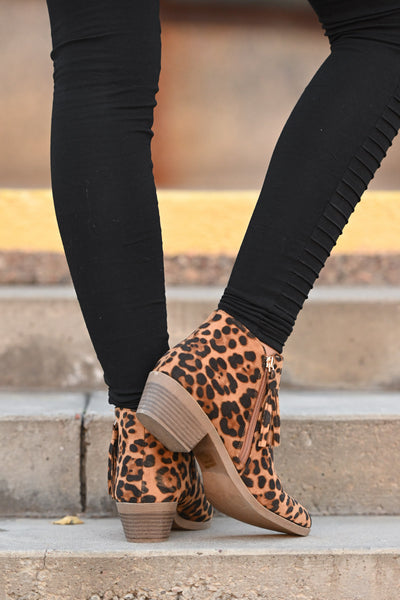 Lexi Leopard Booties women's animal print ankle boot with fringe detail, Closet Candy Boutique 5