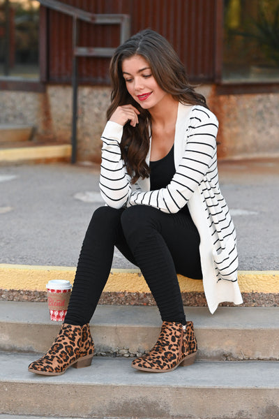 The Nearness of You Striped Cardigan - cute ivory stripe print cardigan with pockets, Closet Candy Boutique 1