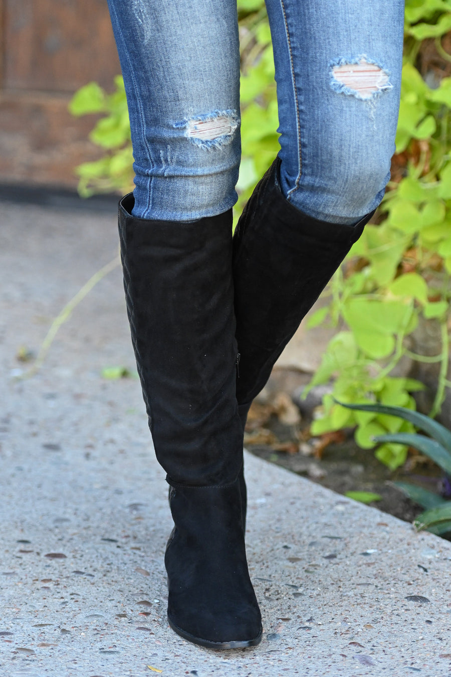 Valentina Boots - Black women's vegan leather and suede quilted tall boots, Closet Candy Boutique 1