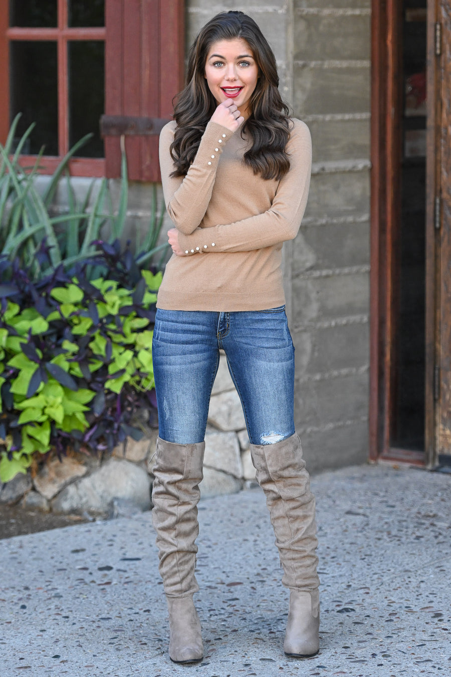 She's Got Class Knit Top - Camel women's top with pearl details at sleeve, Closet Candy Boutique 1