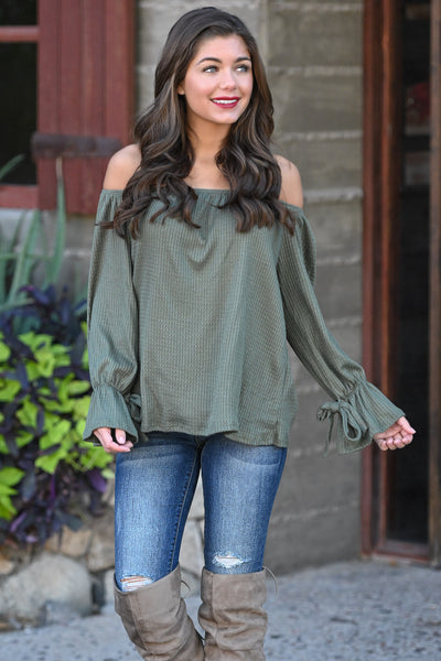 First Love Flirt Top - Olive women's off the shoulder top, flow, tie sleeves, Closet Candy Boutique 3