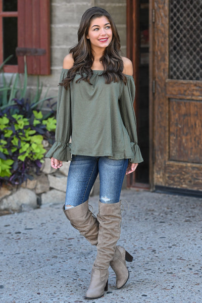 First Love Flirt Top - Olive women's off the shoulder top, flow, tie sleeves, Closet Candy Boutique 1