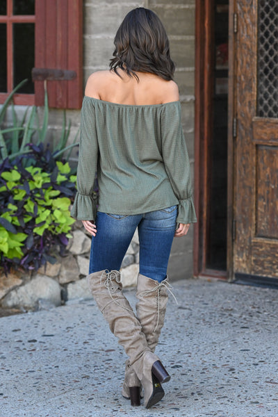 First Love Flirt Top - Olive women's off the shoulder top, flow, tie sleeves, Closet Candy Boutique 2
