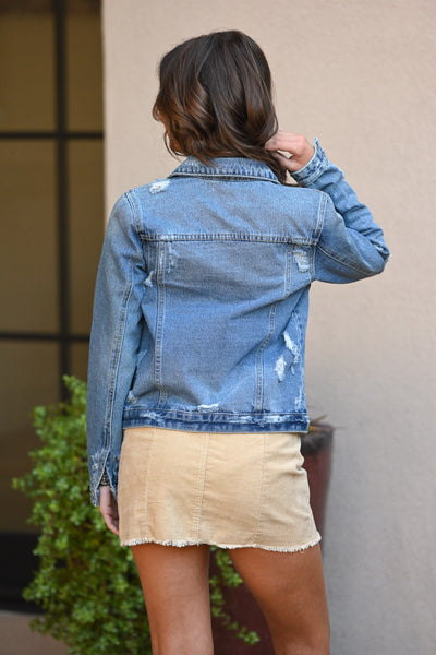 KAN CAN Denim Jacket - Heidi Wash women's distressed denim jacket, Closet Candy Boutique 3
