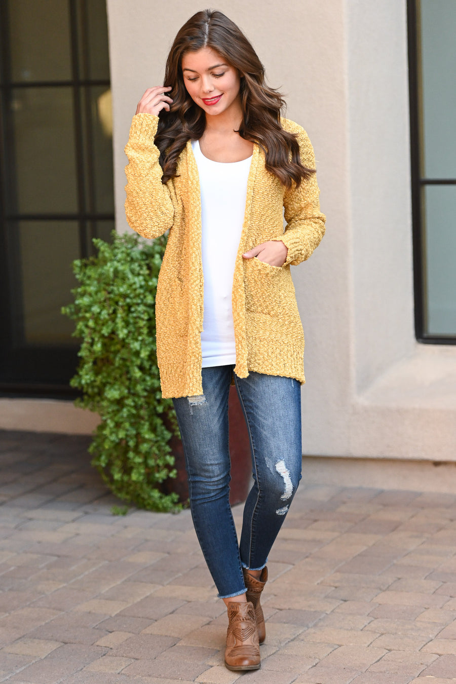 Time To Chill Knit Cardigan - Mustard cozy knit open-front sweater, closet candy boutique 1
