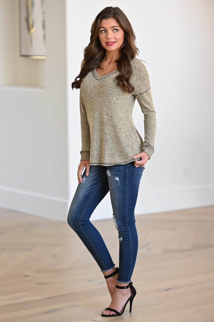 Doing What I Want Top - Taupe women's long sleeve knit top, Closet Candy Boutique 1