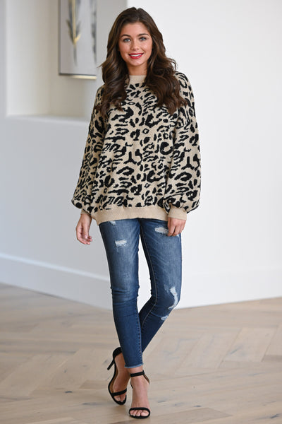 Feisty Fashionista Leopard Sweater - Tan women's animal print sweater, Closet Candy Boutique 2