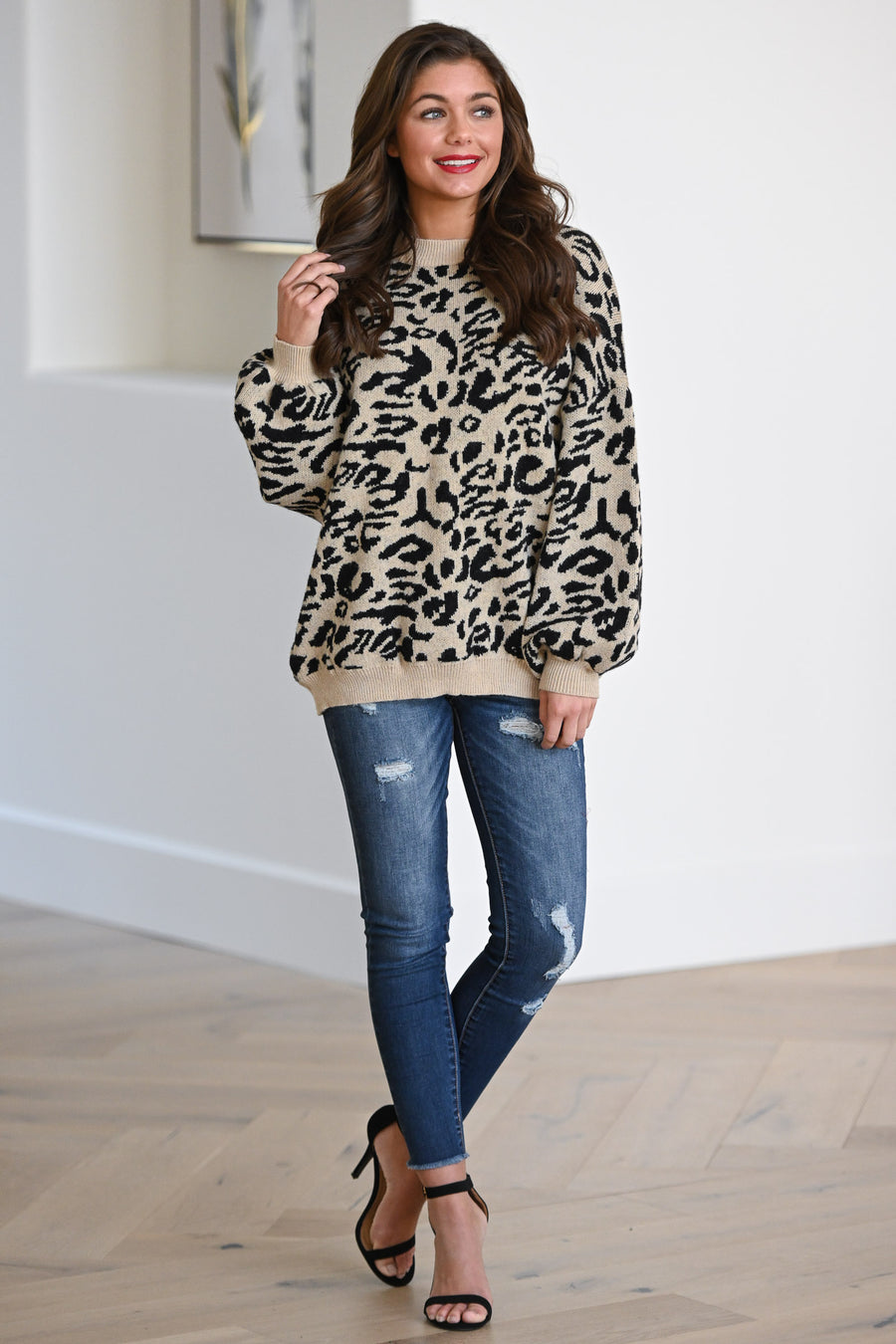 Feisty Fashionista Leopard Sweater - Tan women's animal print sweater, Closet Candy Boutique 3