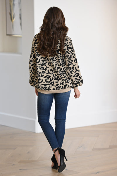 Feisty Fashionista Leopard Sweater - Tan women's animal print sweater, Closet Candy Boutique 4