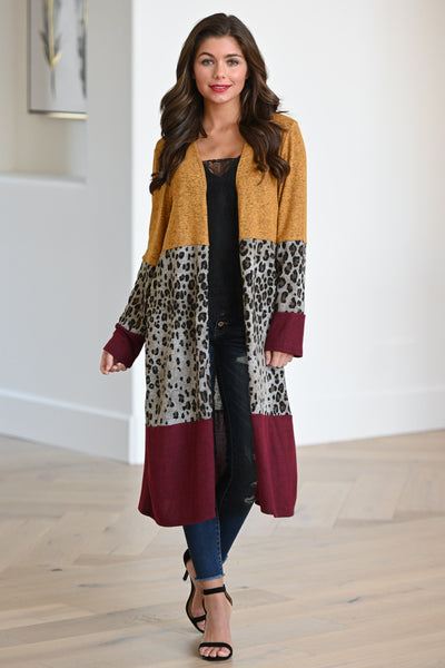 Your Cup Of Tea Cardigan - Mustard, burgundy & leopard print women's color block duster cardigan, Closet Candy Boutique 3