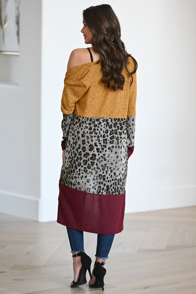 Your Cup Of Tea Cardigan - Mustard, burgundy & leopard print women's color block duster cardigan, Closet Candy Boutique 4