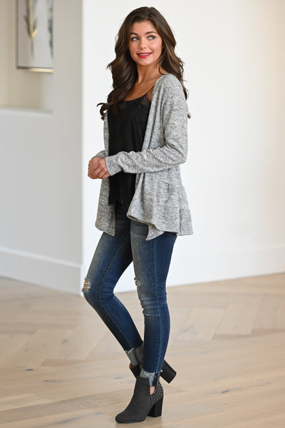 Pull Me Closer Cardigan - Grey women's sweater with ruffled hem detail, closet candy boutique 1
