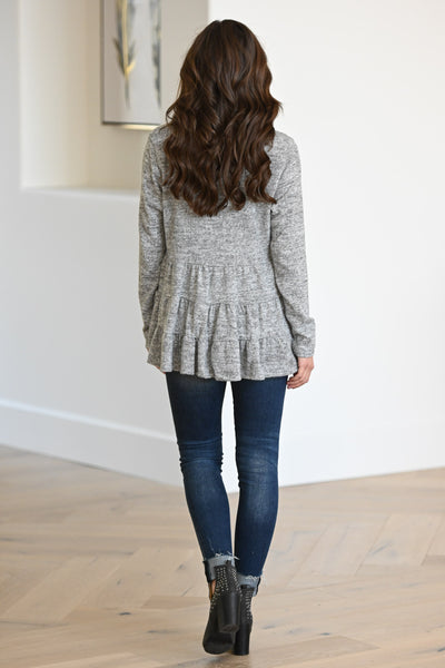 Pull Me Closer Cardigan - Grey women's sweater with ruffled hem detail, closet candy boutique 3