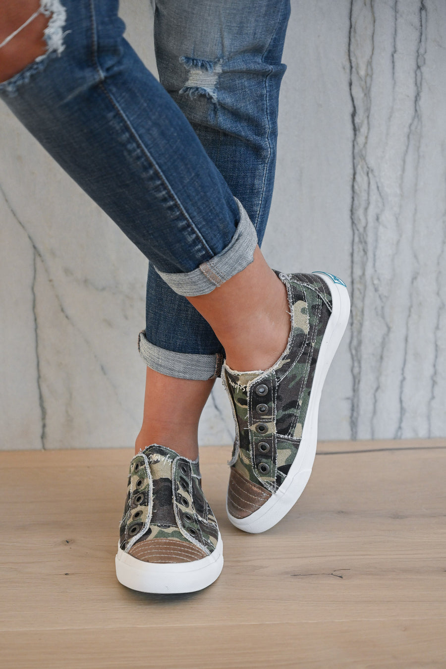 Wherever You Wander Sneakers - Camo & Metallic toe casual sneakers, Closet Candy Boutique 1
