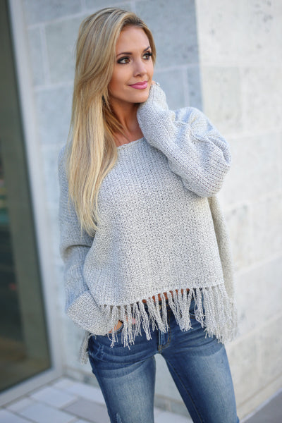Fringe Forever Sweater - Taupe long sleeve fringe hem sweater, front, Closet Candy Boutique