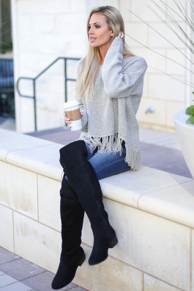 Fringe Forever Sweater - Taupe long sleeve fringe hem sweater, side, Closet Candy Boutique