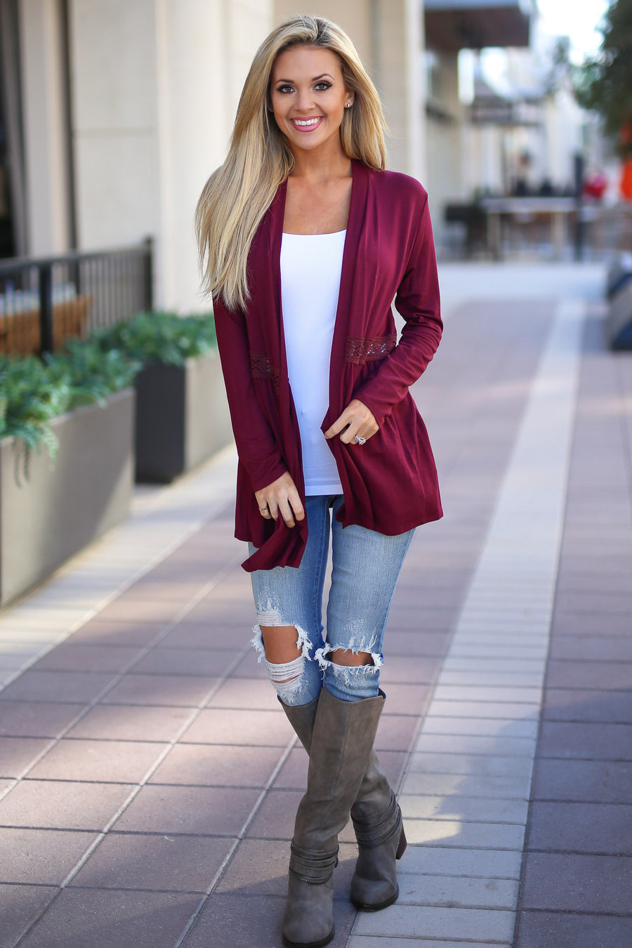 Just Gets Better Cardigan - Wine long sleeve cardigan, side, Closet Candy Boutique